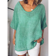 Solid Round Neck 1/2 Sleeves Casual Blouses