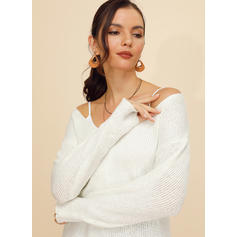 Solid Ribbed One Shoulder Sweaters