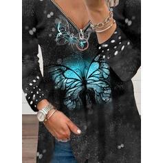 Impresión butterfly Cuello en V Manga Larga Camisetas