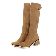 Women's Suede Chunky Heel Knee High Boots With Zipper shoes