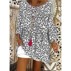 Leopardo Gola Redonda Manga Comprida Casual Blusas