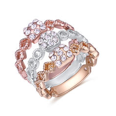 Fashionable Rhinestones Copper Ladies' Fashion Rings