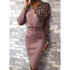 Color Block Leopard V-Neck Casual Long Tight Sweater Dress