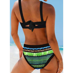 Print Color Block Strap Elegant Bohemian Bikinis Swimsuits