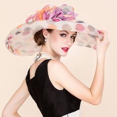 Senhoras Colorido Organza de com Pena De disquetes Chapéu