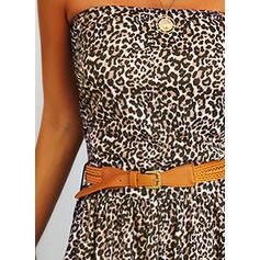 Leopard Ärmellos A-Linien Skater Freizeit Maxi Kleider