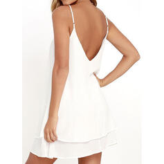 Solid Sleeveless Shift Above Knee Sexy/Casual/Vacation Slip Dresses
