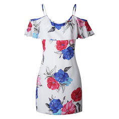 Print/Floral Cold Shoulder Sleeve Shift Above Knee Casual/Boho/Vacation Dresses