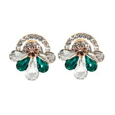 Shining Alloy Rhinestones Glass Fashion Earrings