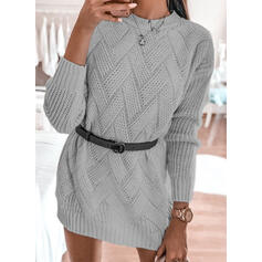 Solid Lange ærmer Bodycon Over knæet Casual Sweater Kjoler