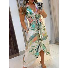 Print/Floral/Backless Sleeveless A-line Asymmetrical Casual Skater Dresses