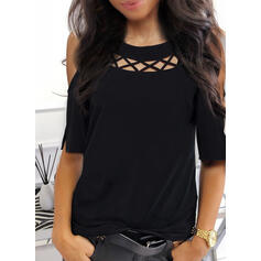 Solide Cold Shoulder 1/2 Mouwen Casual Overhemd