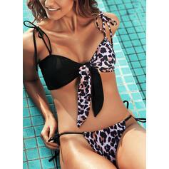 Leopard Print Strap Sexy Bikinis Swimsuits