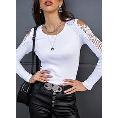 Solid Lace Cold Shoulder Long Sleeves Casual Blouses