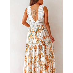 Lace/Print/Floral Sleeveless A-line Sexy/Party Maxi Dresses