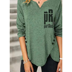 Print Figure V-Neck Long Sleeves Button Up Casual Blouses