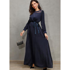 Solid Long Sleeves A-line Midi Casual/Party Dresses