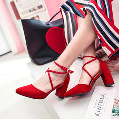 Women's Suede Chunky Heel Pumps Closed Toe With Buckle shoes