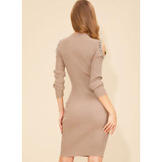 Solid Long Sleeves Bodycon Knee Length Casual/Elegant Dresses