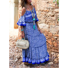 Print 1/2 Sleeves/Cold Shoulder Sleeve A-line Casual/Boho/Vacation Maxi Dresses