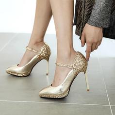 Women's Patent Leather Stiletto Heel Pumps Platform With Sequin Buckle shoes