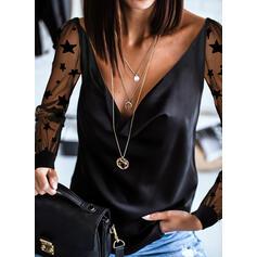 Print Lapwerk V-hals Lange Mouwen Casual Overhemd