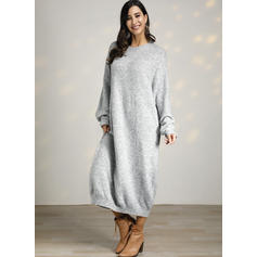 Solid Long Sleeves Shift Sweater Casual Maxi Dresses