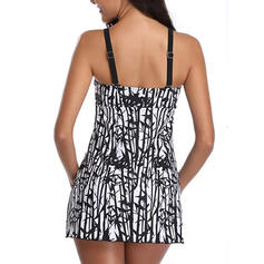 Tropical Print Strap Sexy Swimdresses Swimsuits
