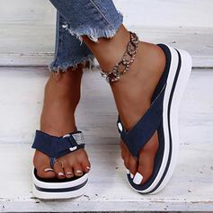 Жіночі Замша Низька підошва Сандалі В'єтнамки Тапочки з Сіяючі камені взуття
