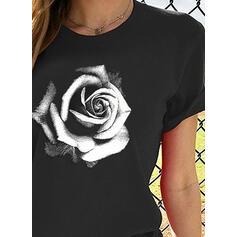 Estampado Gola Redonda Manga Curta Casual Camisetas