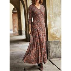 Print Long Sleeves A-line Maxi Casual/Elegant Dresses