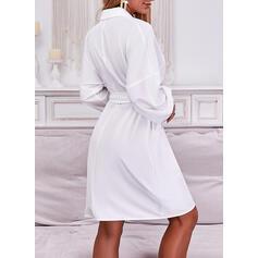 Solid Lange ermer Lantern armer A-line kjole Overknee Avslappet Wrap/Skater Kjoler
