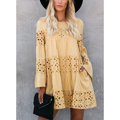 Lace/Solid Long Sleeves/Flare Sleeves Shift Above Knee Casual/Elegant Dresses