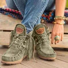 Frauen Veloursleder Niederiger Absatz Stiefel Stiefelette mit Zuschnüren Quaste Schuhe