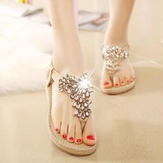 Naisten PU Wedge heel Sandaalit Kiilat jossa Tekojalokivi Kuminauha kengät