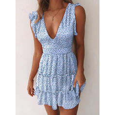 Print Sleeveless Sheath Above Knee Casual Dresses