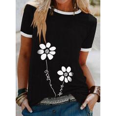 Figura Floral Impresión Cuello Redondo Manga Corta Camisetas