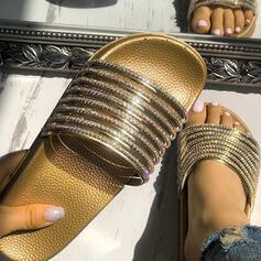 De mujer PVC Tacón plano Sandalias Encaje con Rhinestone zapatos