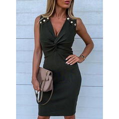 Solid Sleeveless Bodycon Knee Length Little Black/Casual/Elegant Pencil Dresses