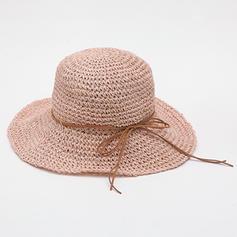 Ladies ' Håndlavet/Hotteste Raffia Straw/Polyester med Bowknot Stråhat/Strand / Sun Hatte