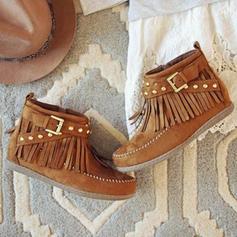 Femmes Suède Talon plat Chaussures plates Bottes avec Boucle Tassel chaussures