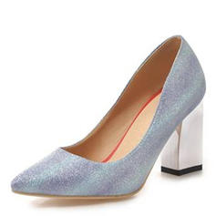 Women's Leatherette Chunky Heel Pumps Closed Toe With Sequin shoes