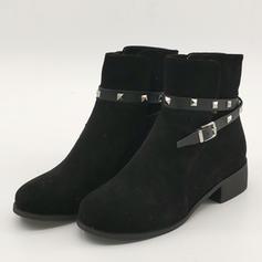 Жіночі ПУ Квадратні підбори Бокові черевики з Заклепка Пряжка взуття