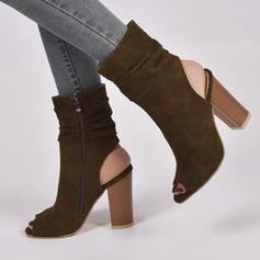 Femmes Suède Talon bottier Escarpins Bottes À bout ouvert Escarpins avec Zip chaussures