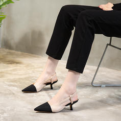 Women's PU Stiletto Heel Sandals Closed Toe With Elastic Band shoes