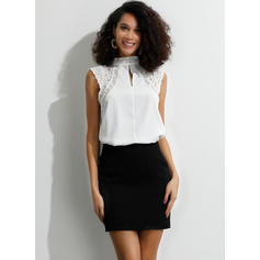 Solid Lace Stand-up Collar Cap Sleeve Casual Elegant Blouses