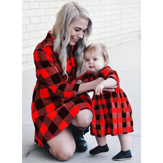 Μπαμπάς και εγώ Καρό ύφασμα Ταίριασμα Φορέματα