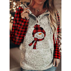Grid Pockets Long Sleeves Christmas Sweatshirt