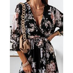 Impresión/Floral Mangas 3/4 Vestido línea A Sobre la Rodilla Casual Bolero/Patinador Vestidos