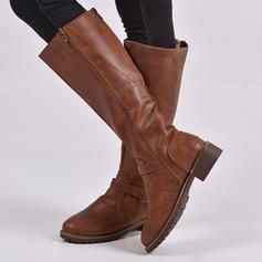 Femmes PU Talon bottier Bottes hautes avec Zip chaussures